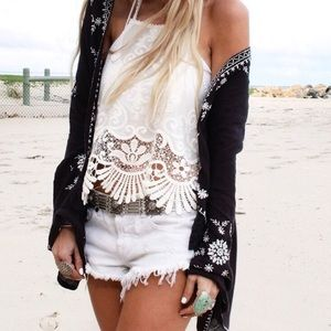 Free People White Button Fly High Cut Off Shorts